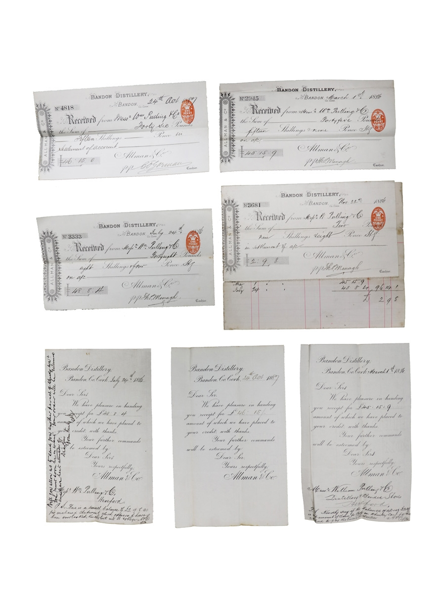 Allman & Co. Bandon Distillery Receipts, Dated 1886 & 1887 William Pulling & Co.
