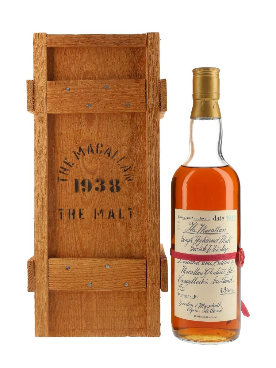 Macallan 1938 Handwritten Label Bottled 1980s - Gordon & MacPhail 75cl / 43%