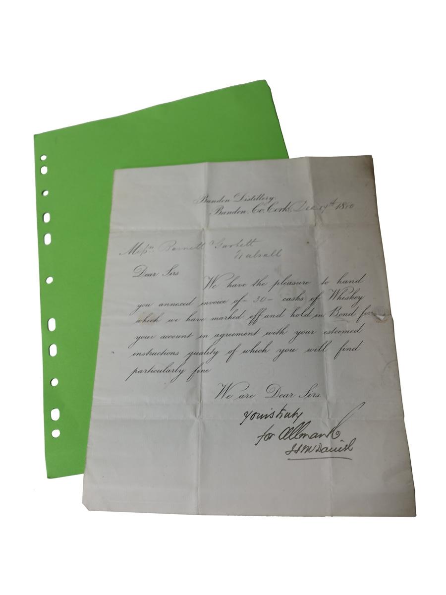 Allman & Co. Bandon Distillery Correspondence, Dated 1880 Barnett & Garbett, Walsall