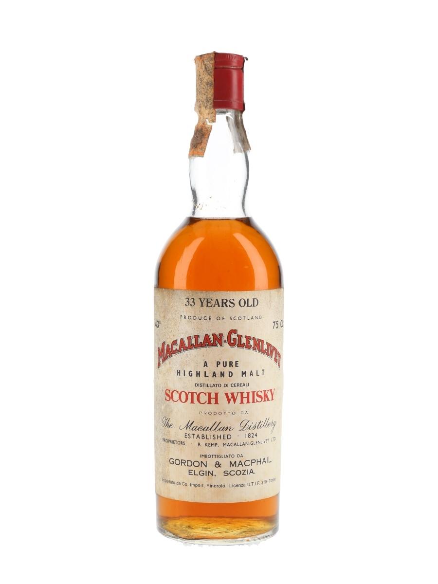 Macallan Glenlivet 33 Year Old Bottled 1970s - Co. Import Pinerolo 75cl / 43%
