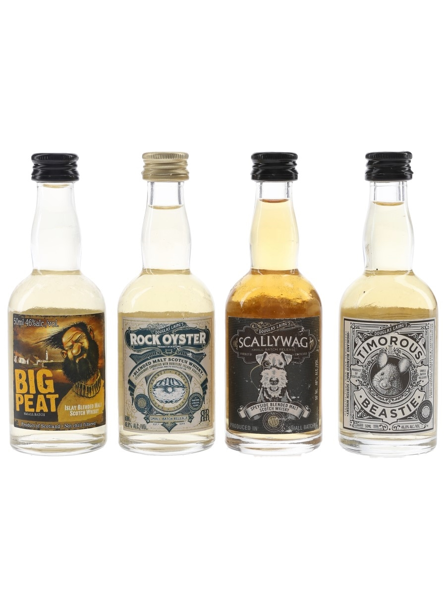 Douglas Laing Blended Malts Big Peat, Rock Oyster, Scallywag & Timorous Beastie 4 x 5cl