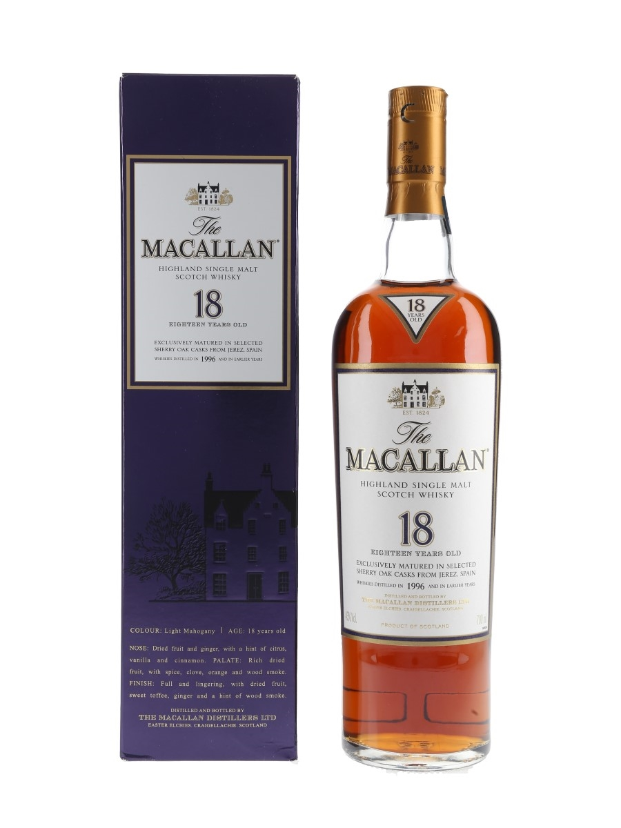 Macallan 18 Year Old 1996 and Earlier 70cl / 43%