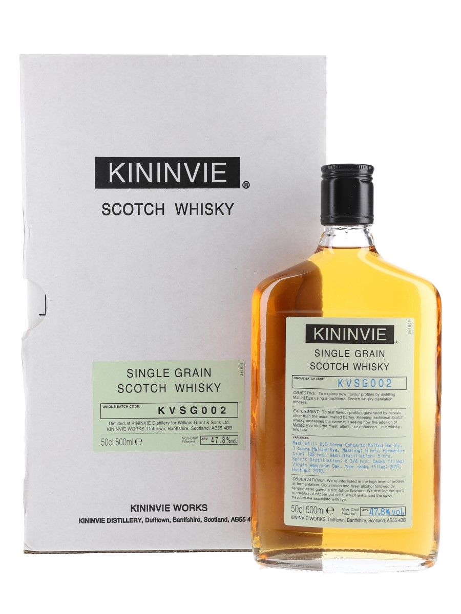 Kininvie 2015 Single Grain Batch KVSG002 Bottled 2019 50cl / 47.8%