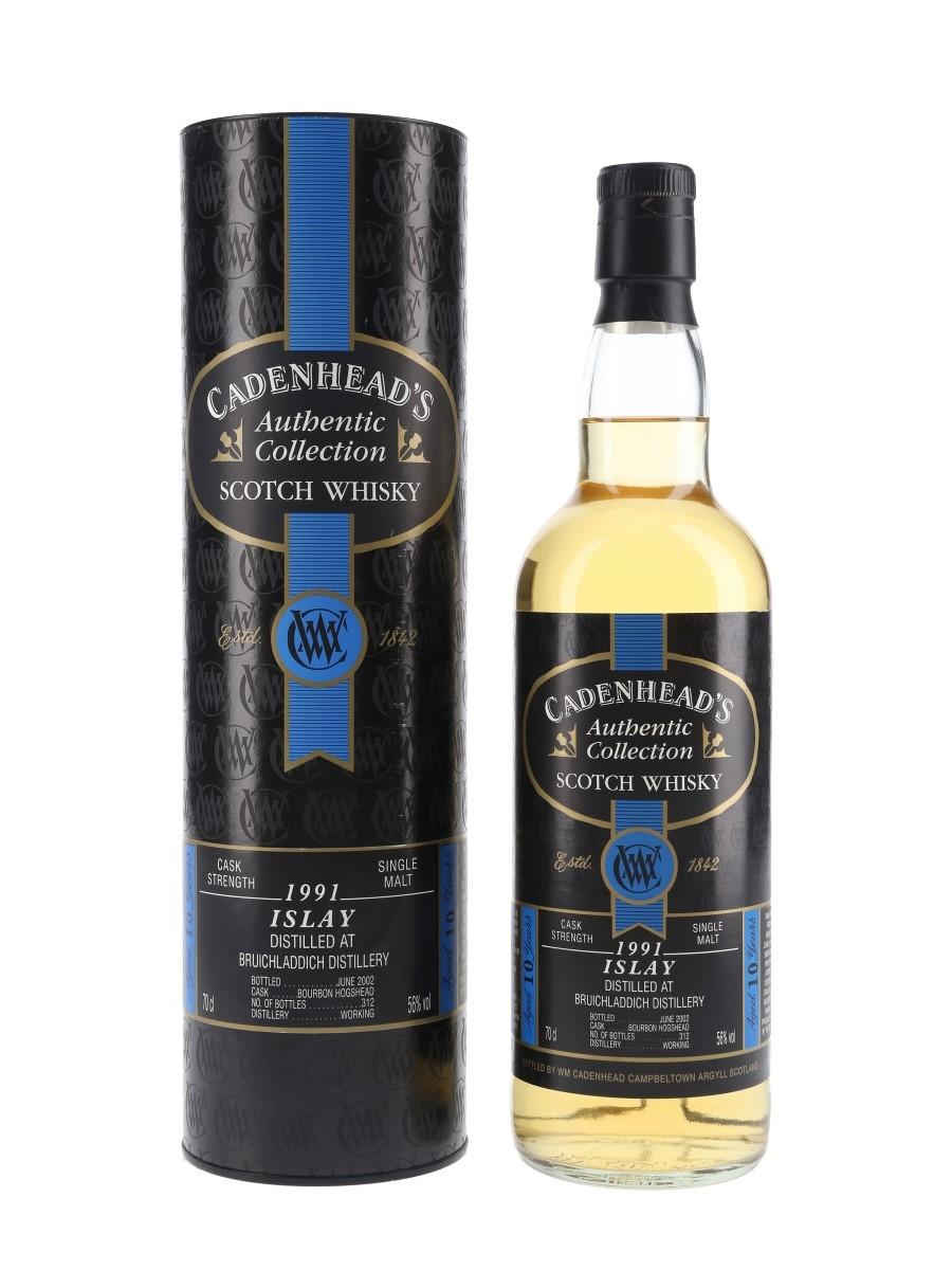 Bruichladdich 1991 10 Year Old Bottled 2002 - Cadenhead's 70cl / 56%