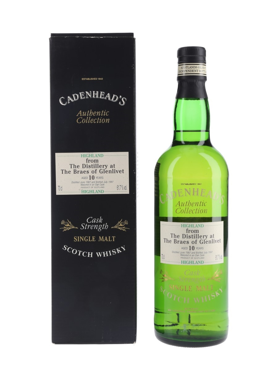 Braes Of Glenlivet 1987 10 Year Old Bottled 1997 - Cadenhead's 70cl / 61.7%