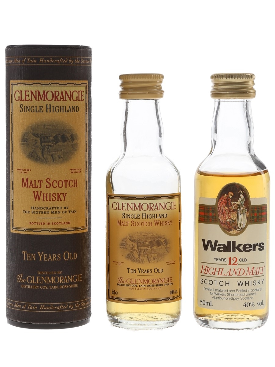 Glenmorangie 10 Year Old & Walkers 12 Year Old Bottled 1980s 2 x 5cl / 40%