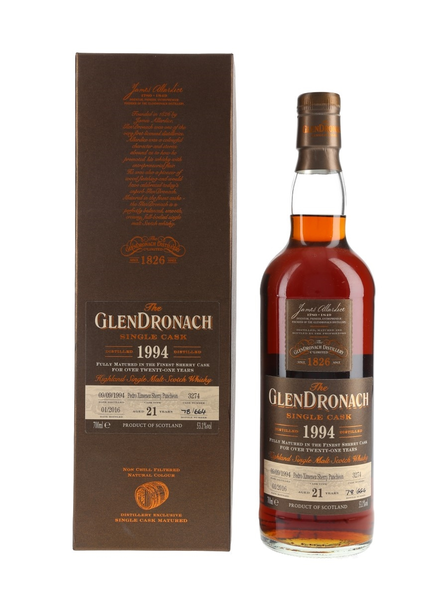 Glendronach 1994 21 Year Old Pedro Ximenez Puncheon Bottled 2016 70cl / 53.1%