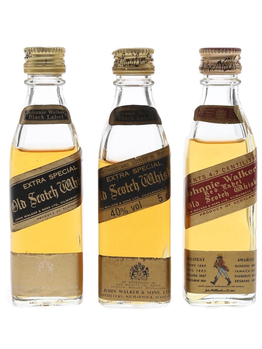 Johnnie Walker Black & Red Label Bottled 1970s & 1980s 3 x 4.7cl-5cl / 40%