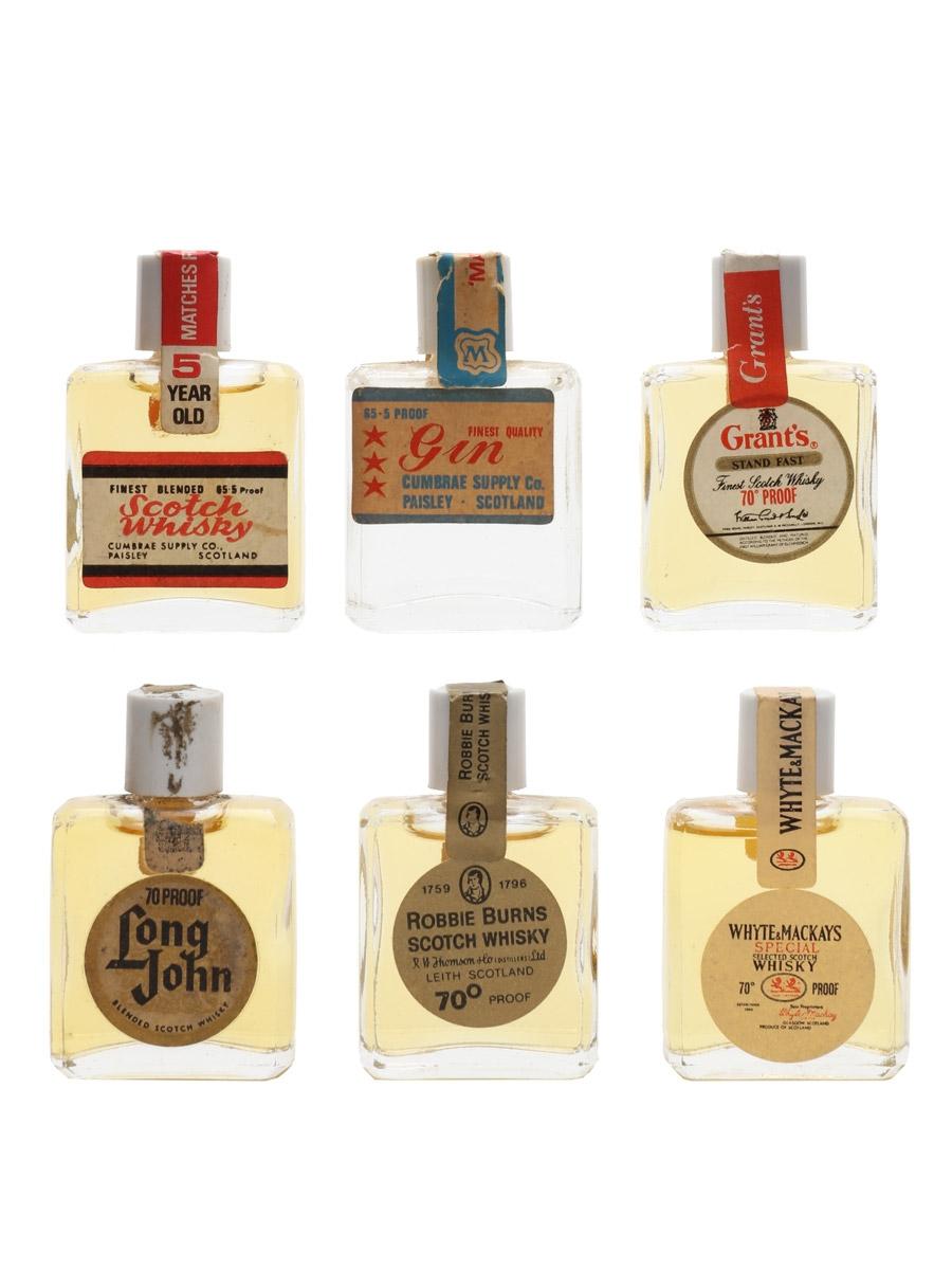 Assorted Novelty Miniatures Bottled 1970s 6 x <1