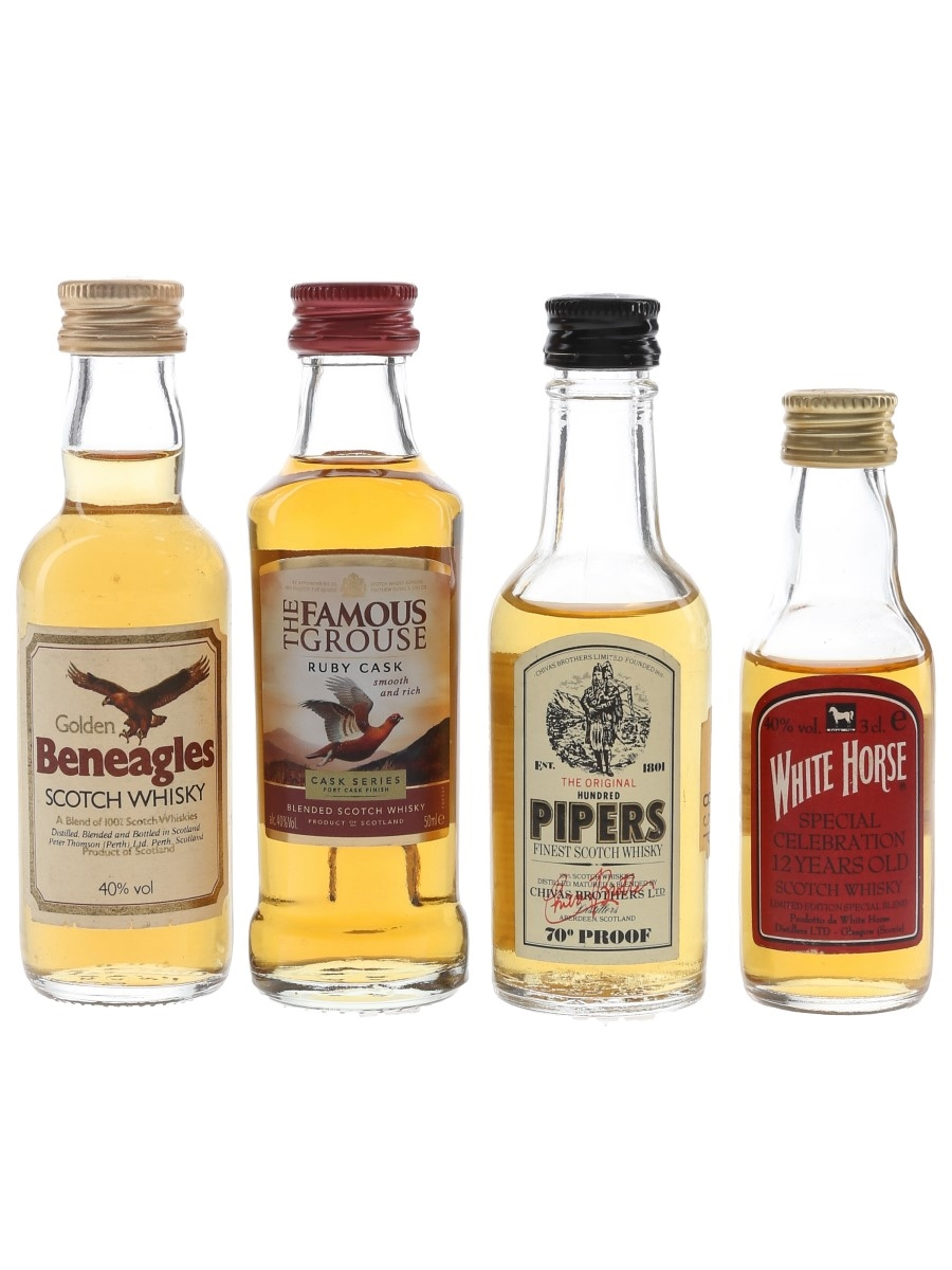 Beneagles, Famous Grouse, Hundred Pipers & White Horse  4 x 3cl-5cl / 40%