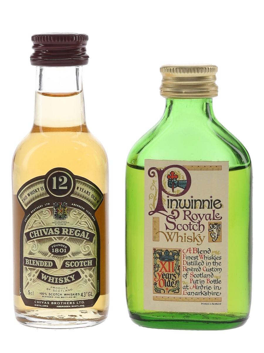 Chivas Regal & Pinwinnie Royale 12 Year Old Bottled 1980s 2 x 5cl