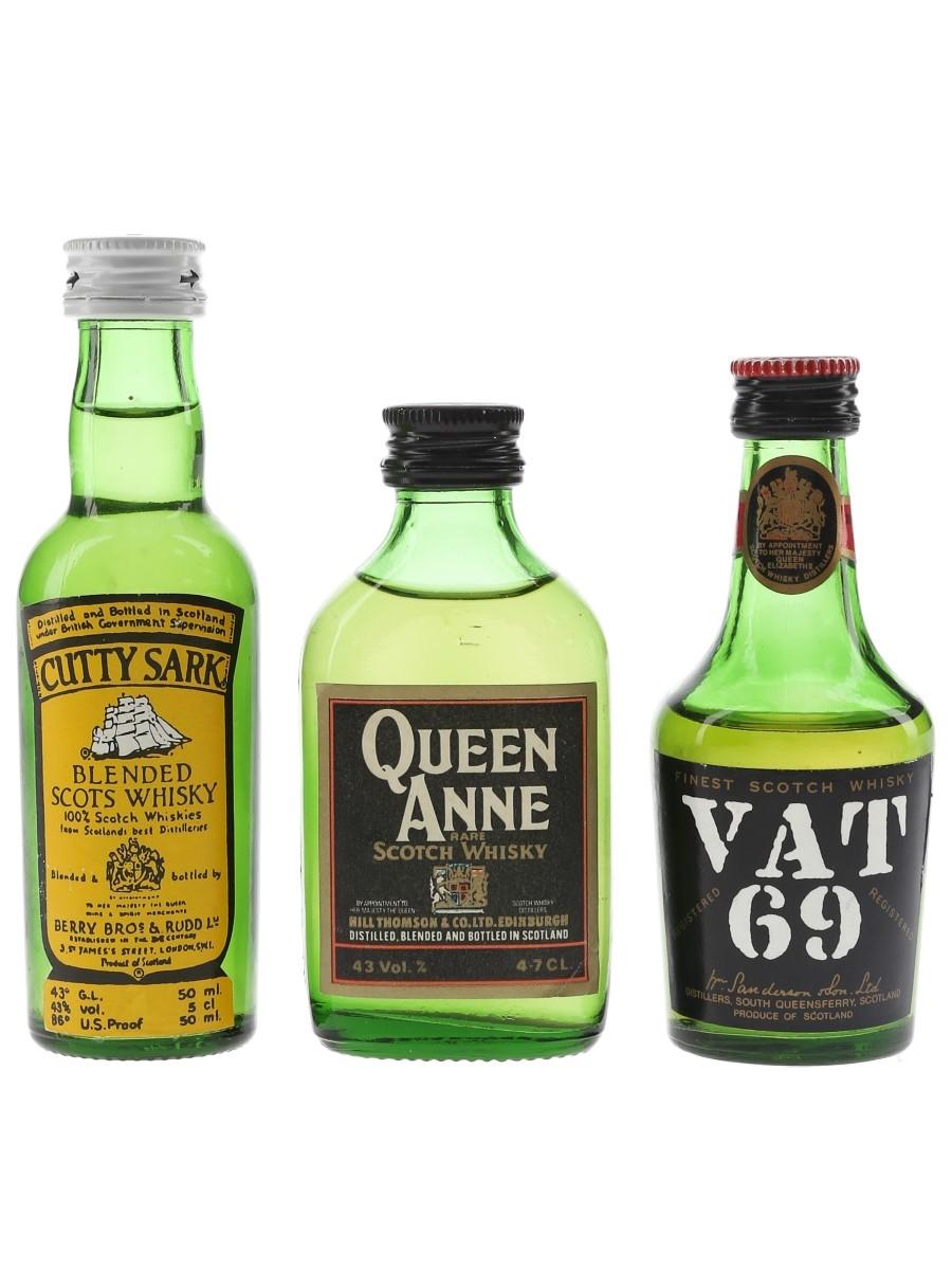 Cutty Sark, Queen Anne & Vat 69 Bottled 1970s-1980s 3 x 4.7cl-5cl