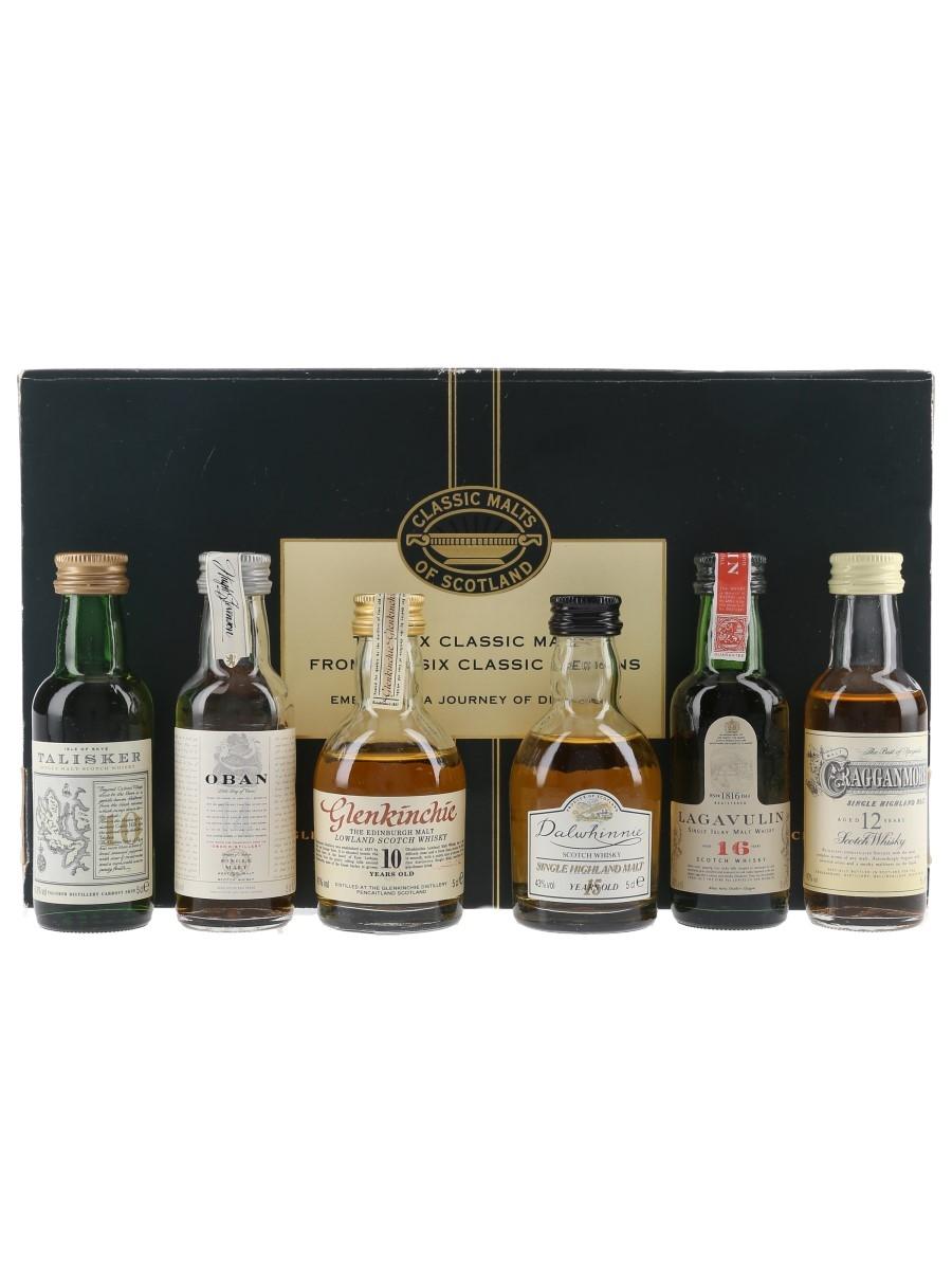 Classic Malts Of Scotland Miniatures Set Talisker, Oban, Glenkinchie, Dalwhinnie, Lagavulin (White Horse Distillers) & Cragganmore 6 x 5cl