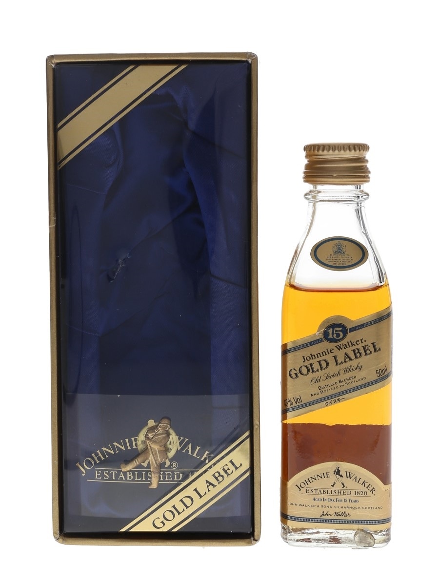 Johnnie Walker 15 Year Old Gold Label with Pin Badge Japanese Import 5cl / 43%