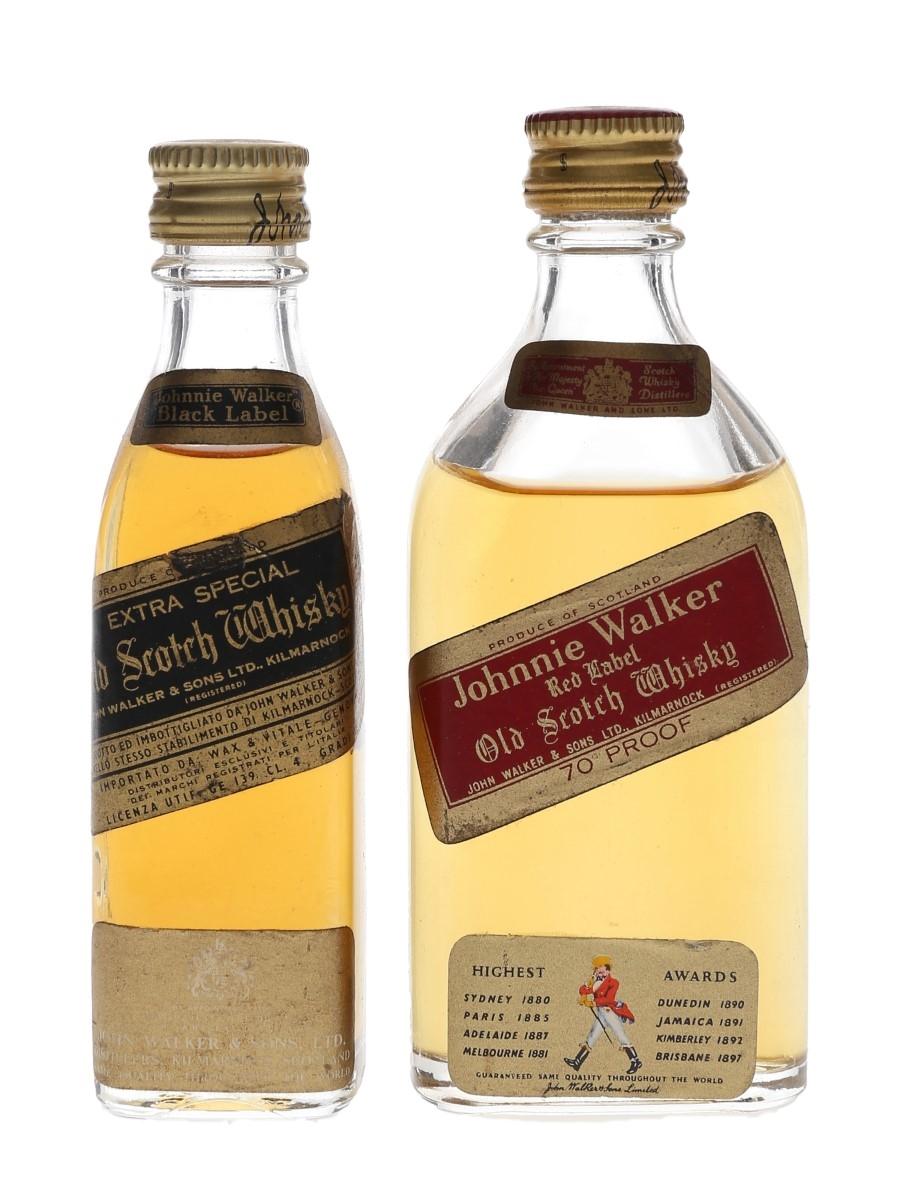 Johnnie Walker Black & Red Label Bottled 1960s 2 x 4cl & 5cl