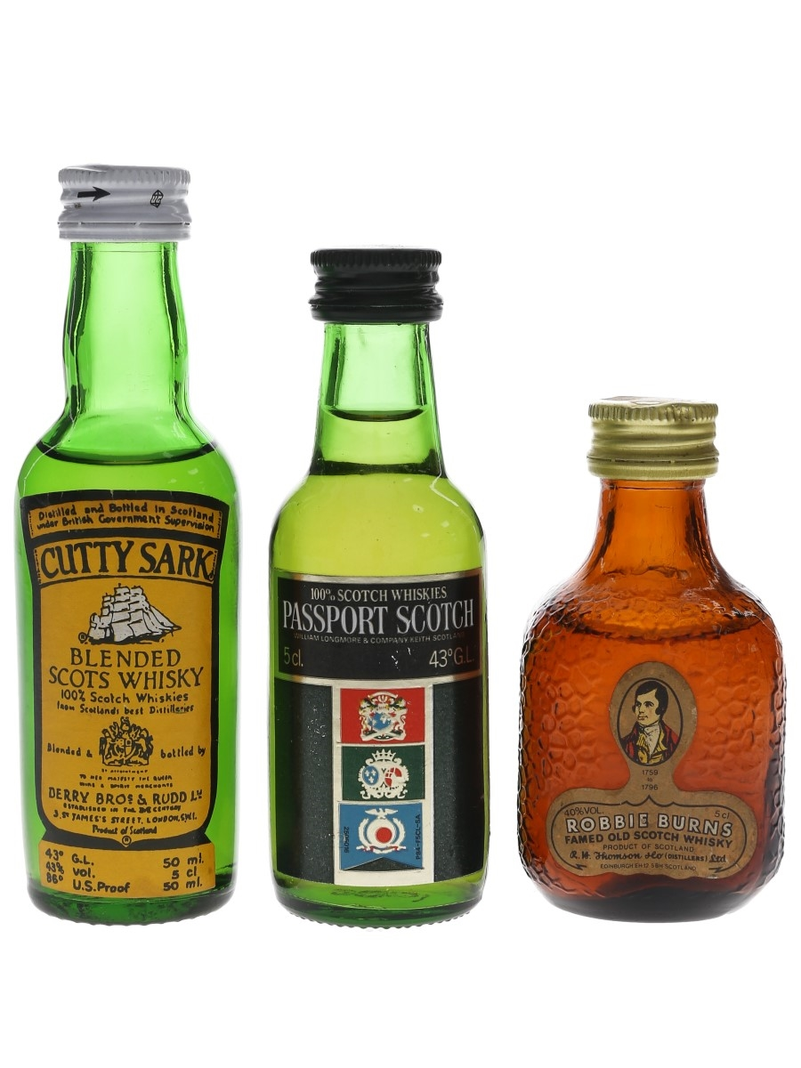 Cutty Sark, Passport & Robbie Burns Bottled 1980s 3 x 5cl