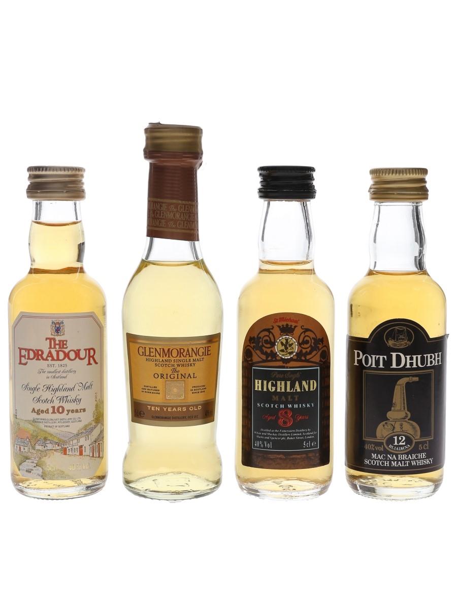 Assorted Single Malts Edradour, Glenmorangie, Poit Dhubh & St Michael 4 x 5cl / 40%