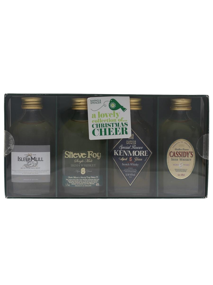 Marks & Spencer Christmas Cheer Irish Whiskey, Single Malt & Blended Scotch Whisky 4 x 5cl / 40%