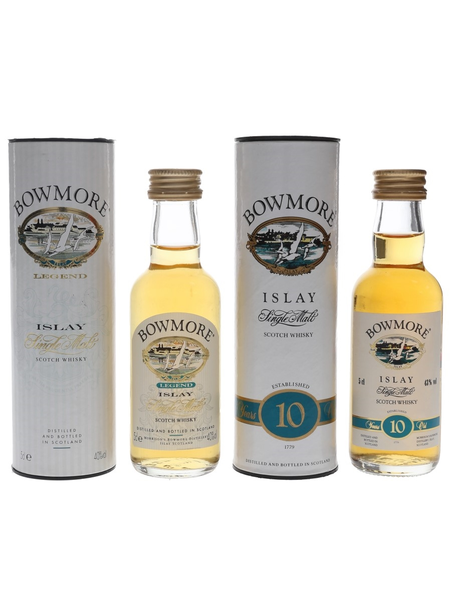 Bowmore Legend & 10 Year Old Bottled 1990s 2 x 5cl
