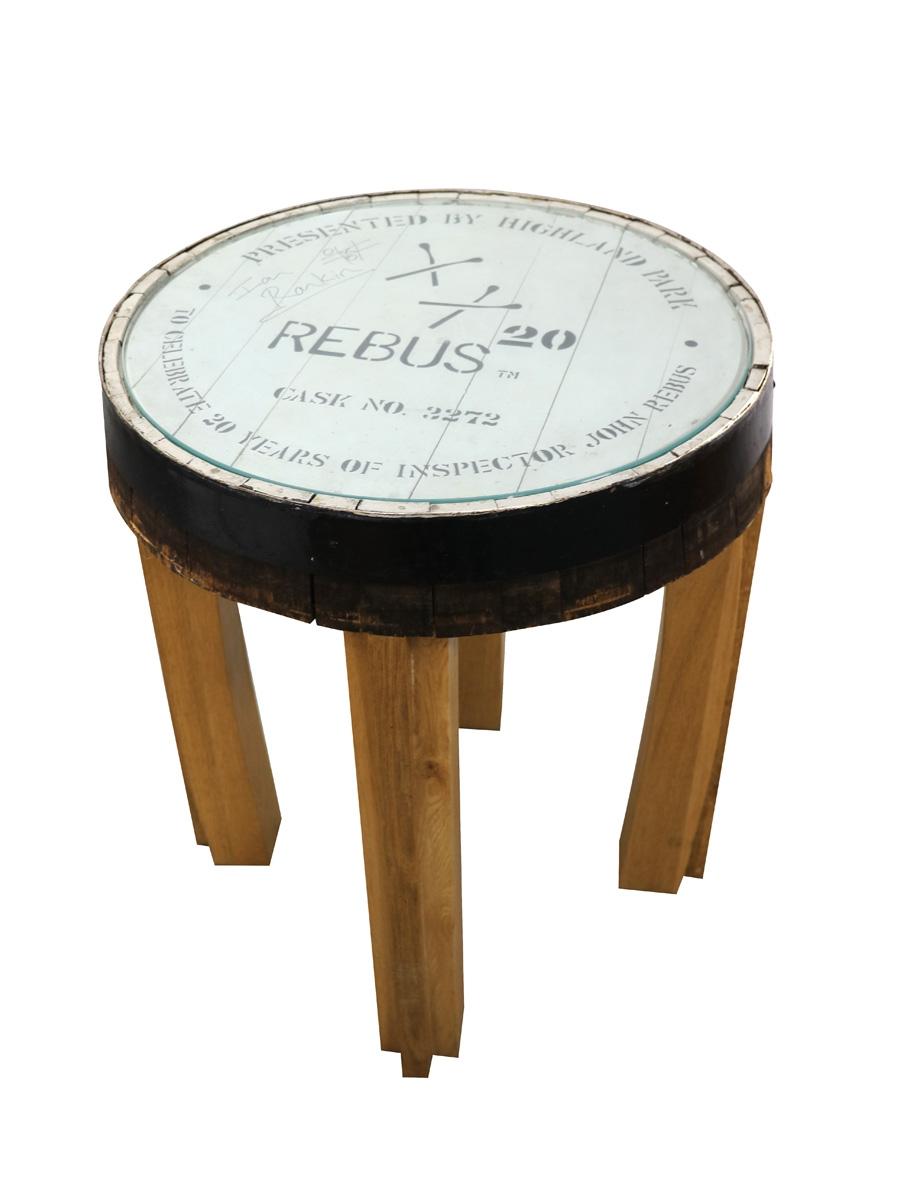 Highland Park Cask 2272 Table Inspector John Rebus 20 Years - Signed by Ian Rankin 63cm Diameter, 77cm Tall