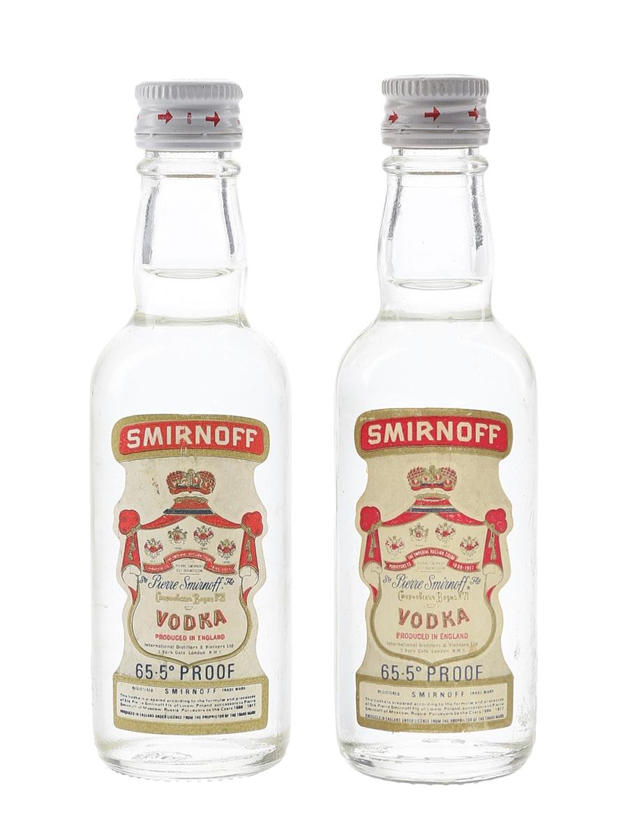 Smirnoff Red Label Vodka Bottles 1970s - International Distillers & Vinteners Ltd. 2 x 5cl / 37.5%