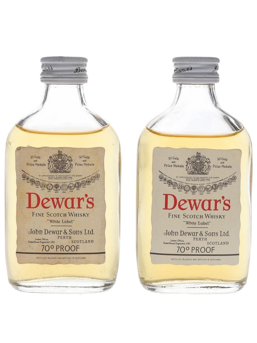 Dewar's White Label Bottled 1970s 2 x 5cl / 40%