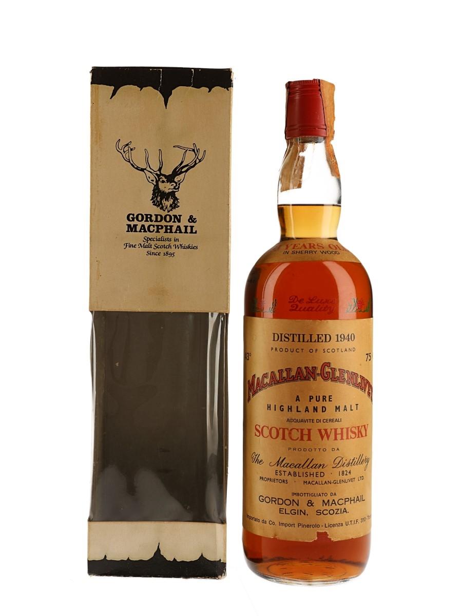 Macallan Glenlivet 1940 33 Year Old Bottled 1970s - Co. Import Pinerolo 75cl / 43%