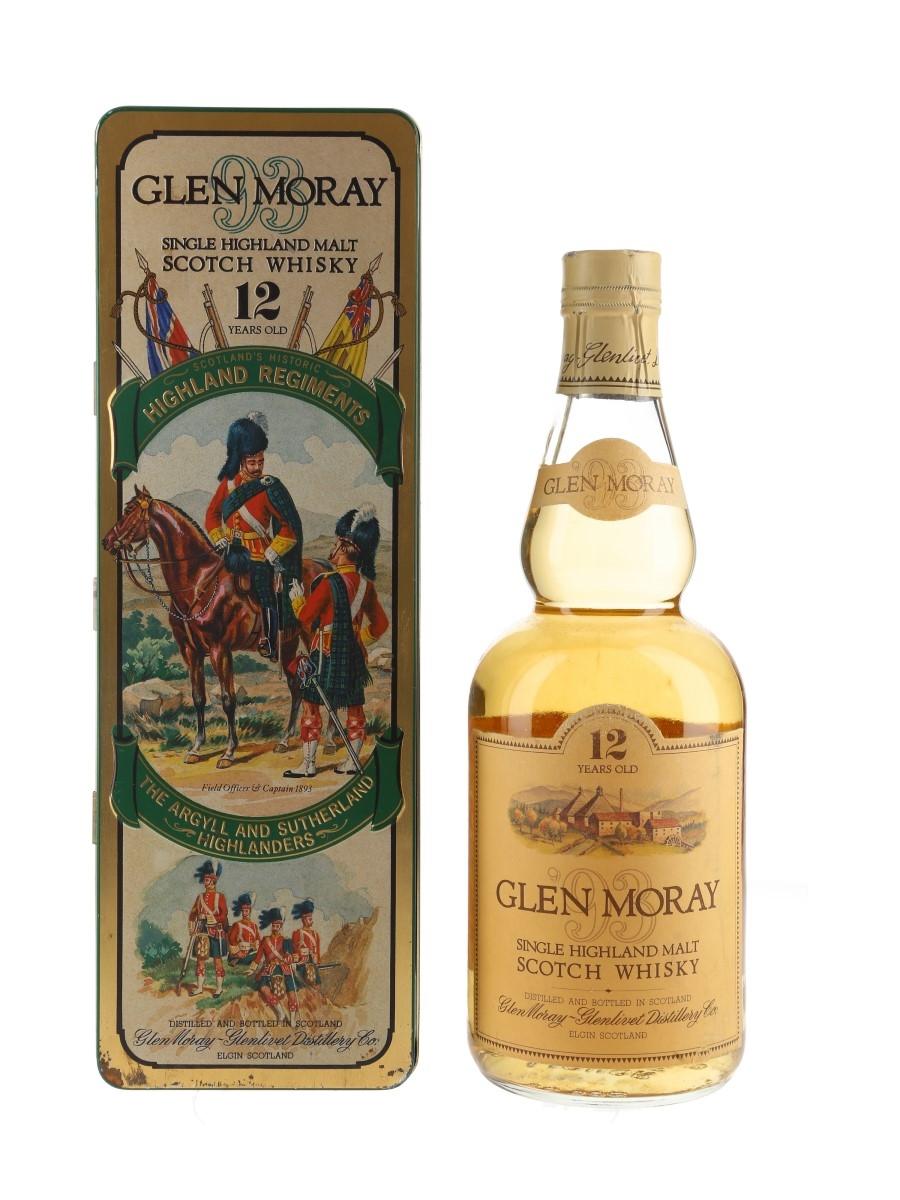 Glen Moray 12 Year Old Bottled 1980s - Scotland's Historic Highland Regiments 75cl / 40%