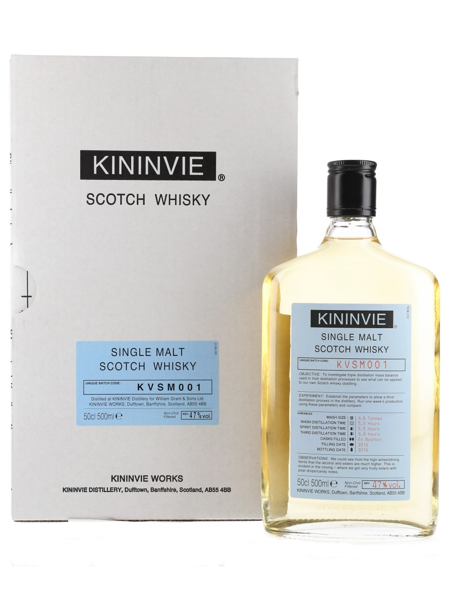 Kininvie 2013 Single Malt Batch KVSM001 Bottled 2019 50cl / 47%