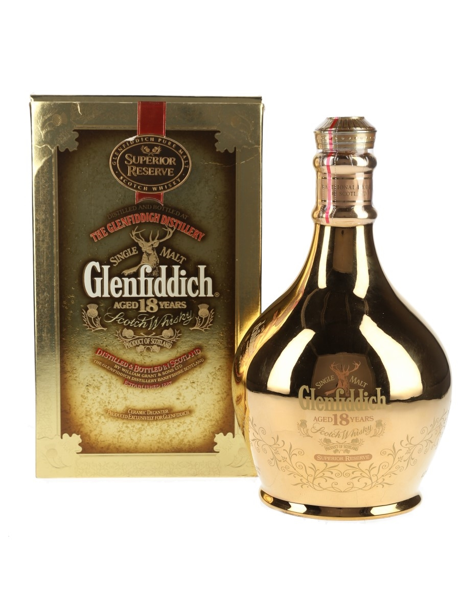 Glenfiddich 18 Year Old Superior Reserve 23 Carat Gold Ceramic Decanter 70cl / 43%