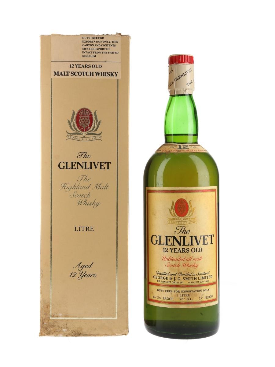 Glenlivet 12 Year Old Bottled 1970s - Duty Free 100cl / 43%