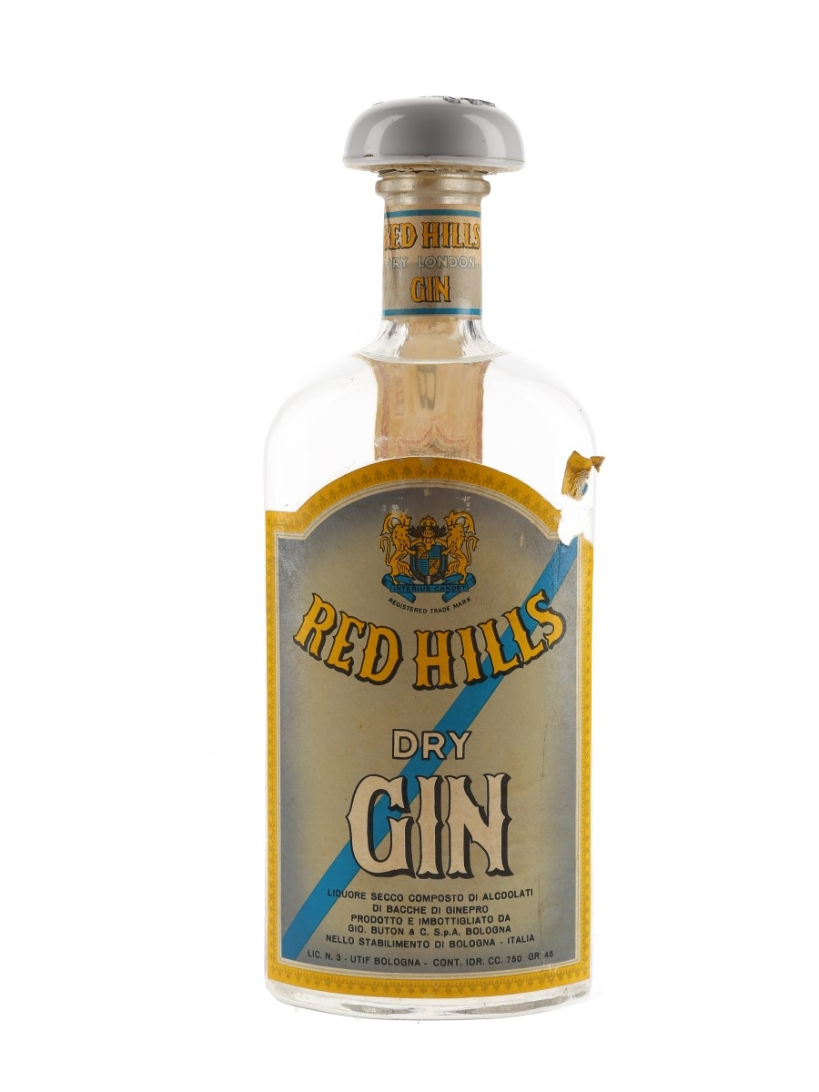 Red Hills Dry London Gin Bottled 1950s - Buton 75cl / 45%