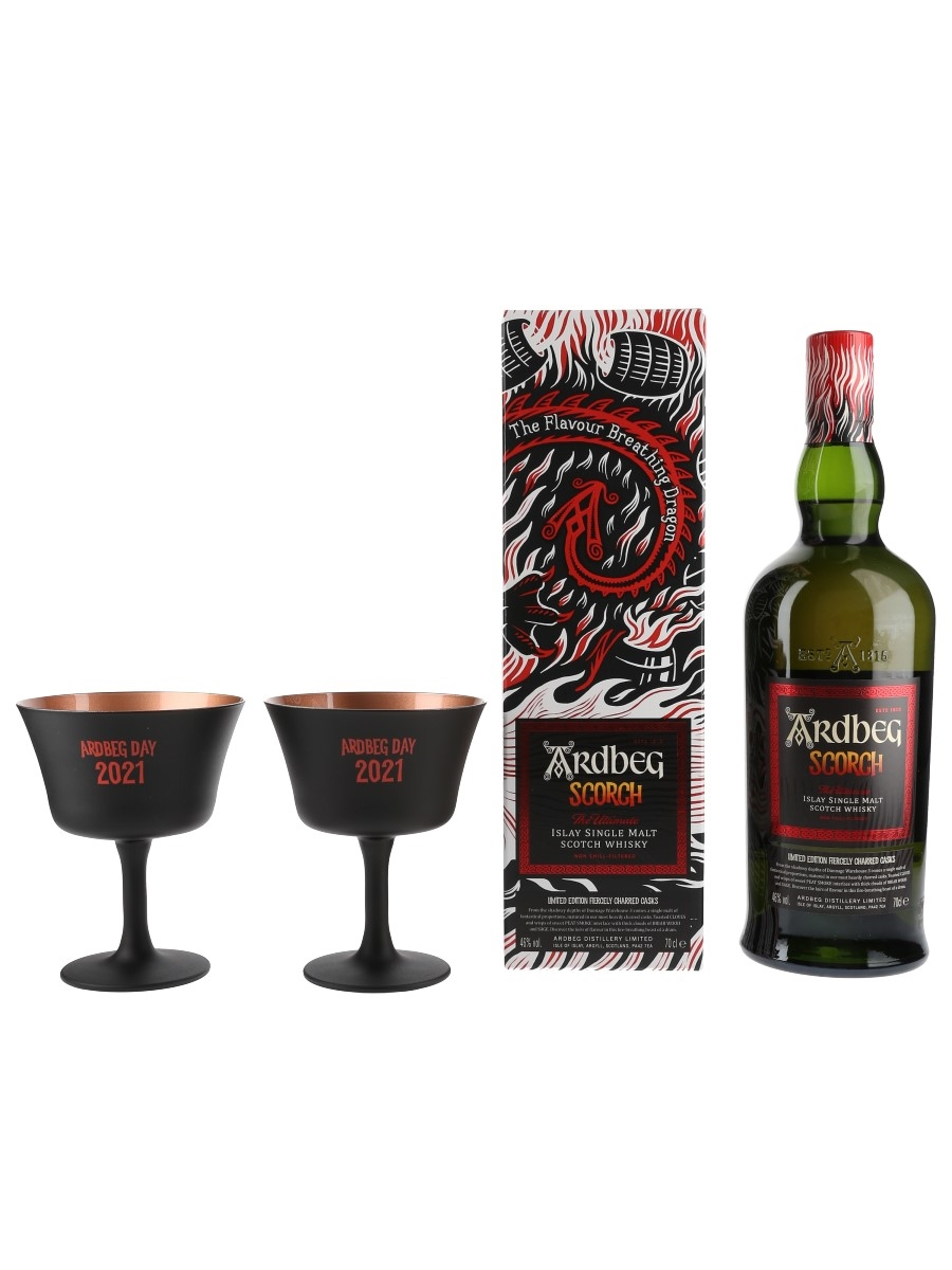 Ardbeg Scorch & Ardbeg Day 2021 Goblets Limited Edition Fiercely Charred Casks 70cl / 46%