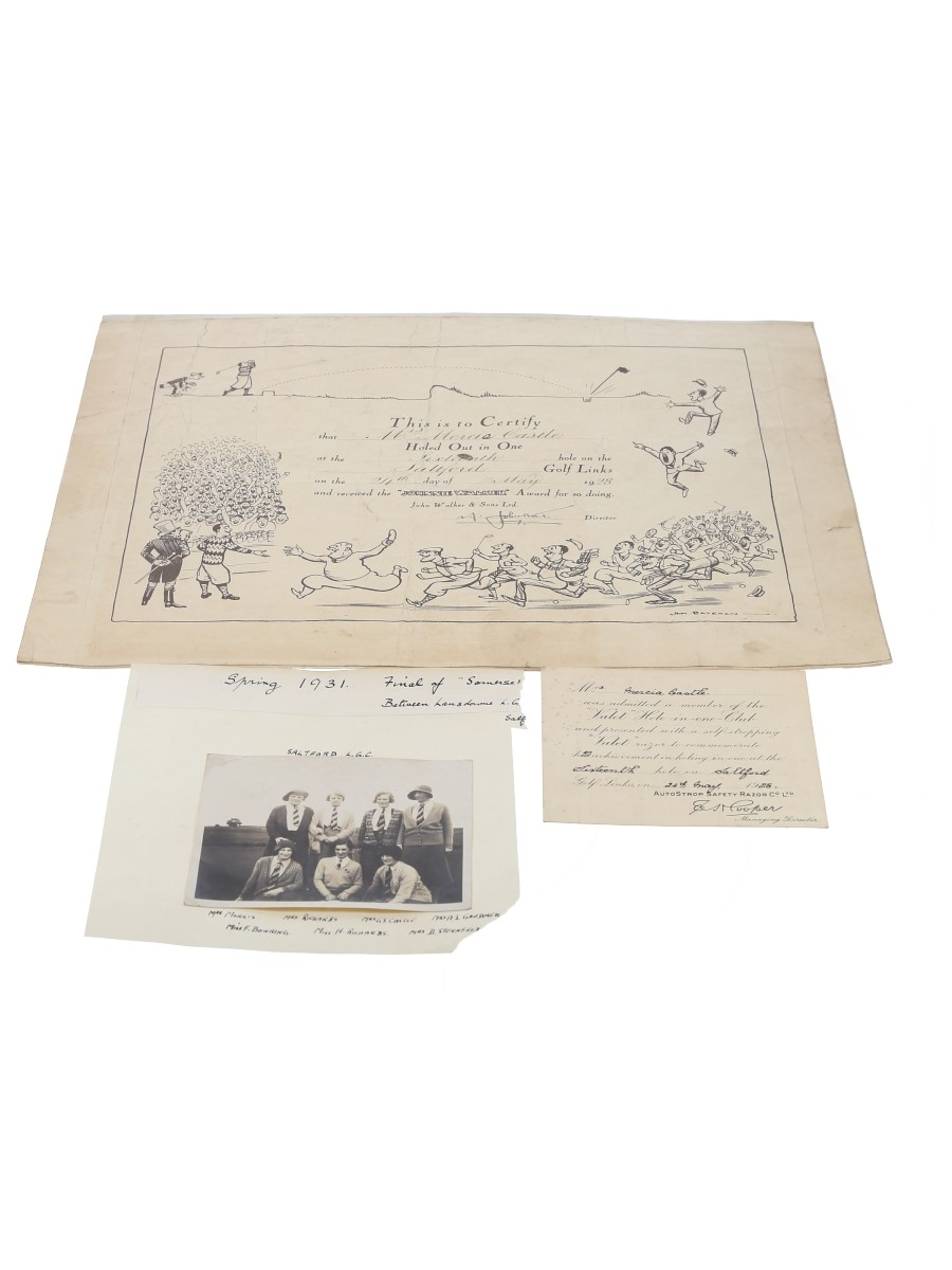 Johnnie Walker Award For A Hole In One Saltford Golf Links, 24 May 1928 38cm x 29cm