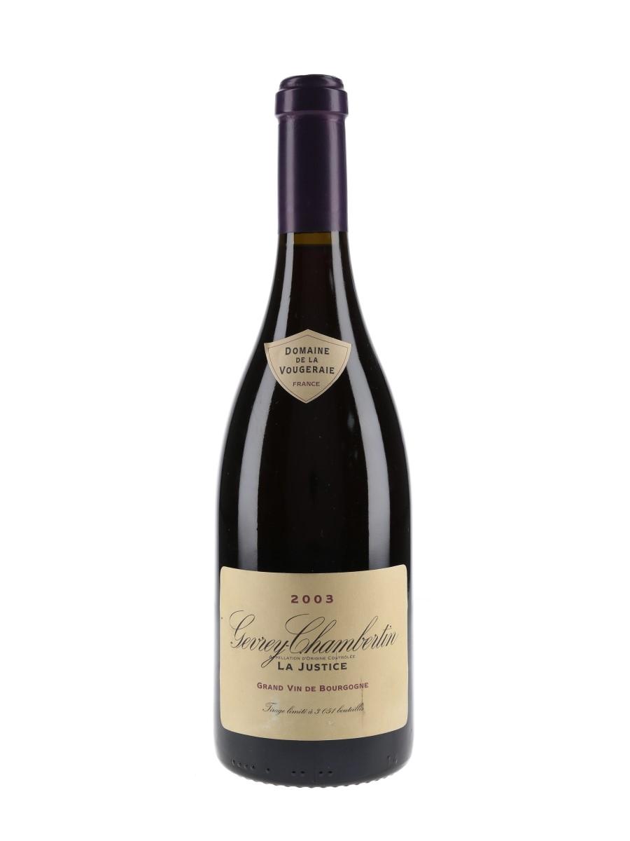 Gevrey Chambertin 2003 La Justice Domaine De La Vougeraie 75cl / 12.5%
