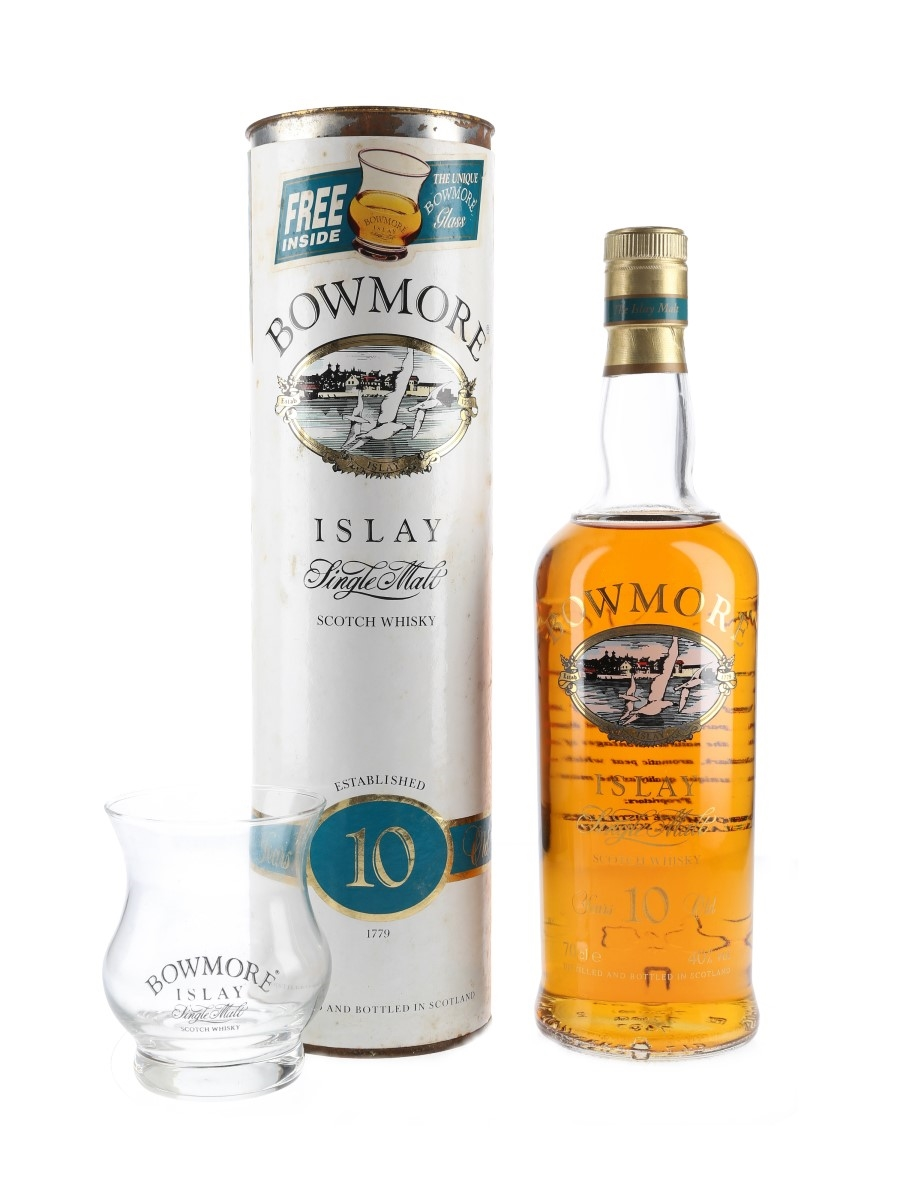 Bowmore 10 Year Old with Glass Bottled 1990s - Screen Printed Label 70cl / 40%