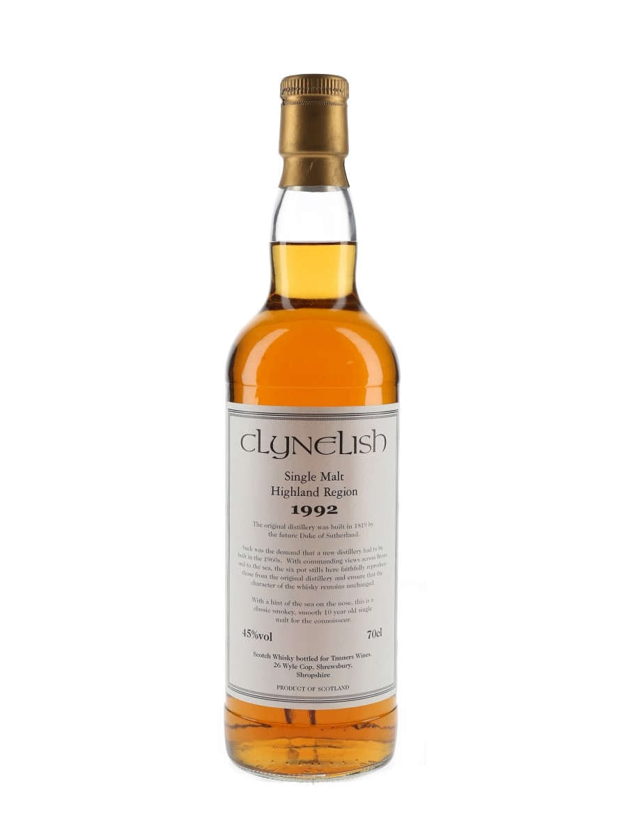 Clynelish 1992 10 Year Old Tanners Wines 70cl / 45%