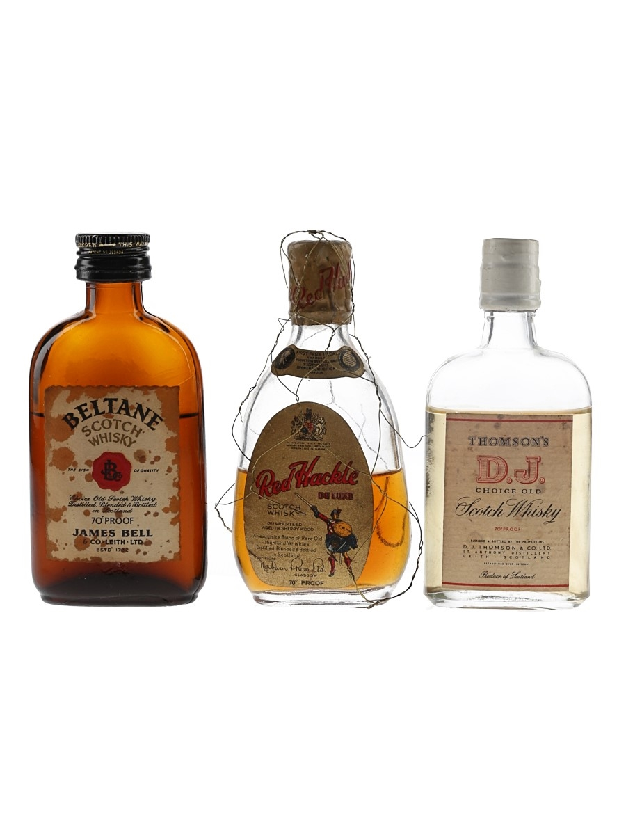 Beltane, Red Hackle & Thomson's D J Bottled 1950s-1970s 3 x 5cl / 40%