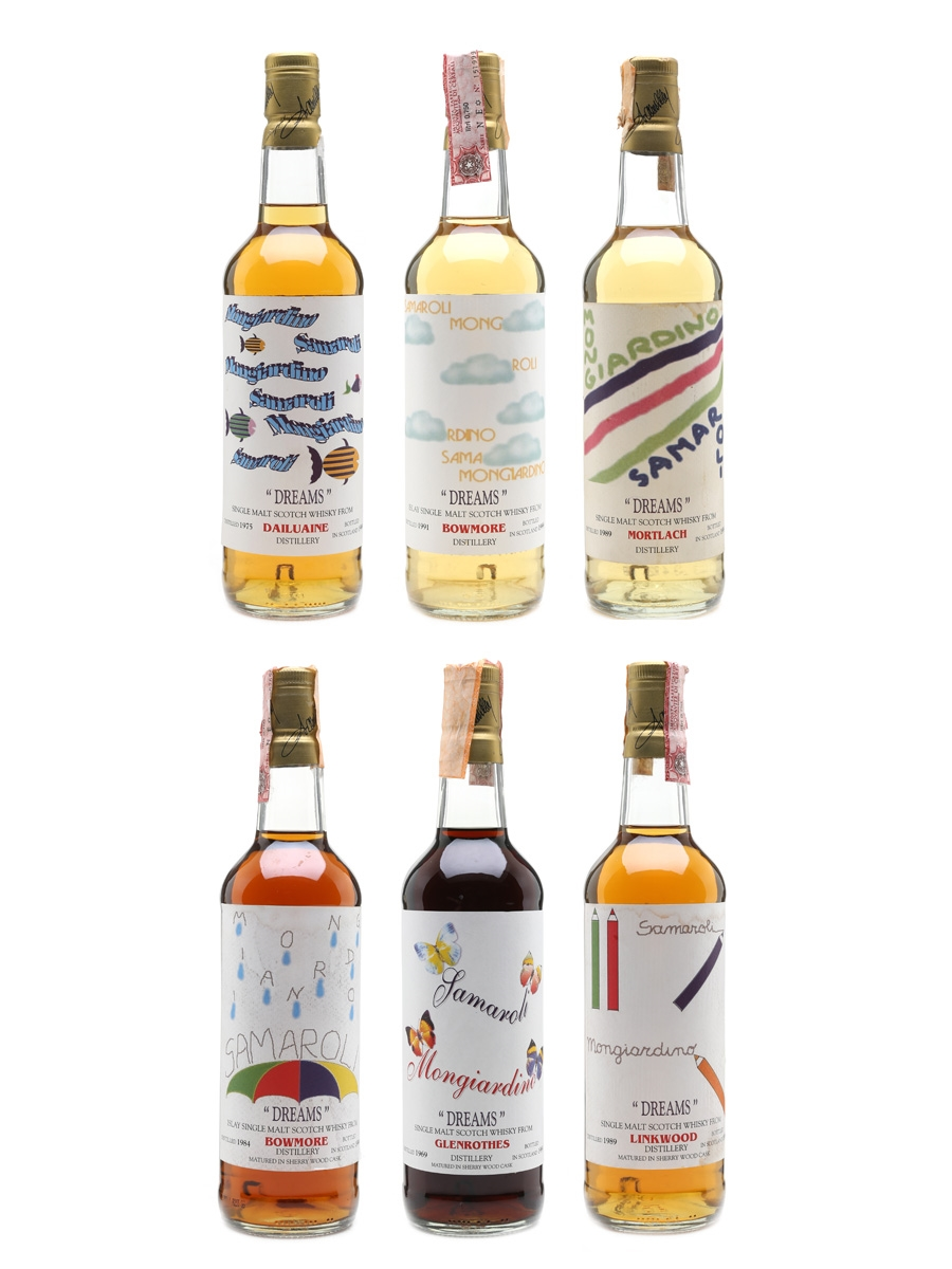 Samaroli & Moon Import Dreams Collection Linkwood 1989, Dailuaine 1975, Bowmore 1991, Glenrothes 1969, Bowmore 1984, Mortlach 1989 6 x 70cl / 45%