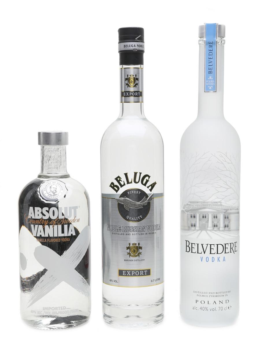 Beluga Vodka, Belvedere Vodka & Absolut Vanilla Vodka  3 x 70cl / 40%