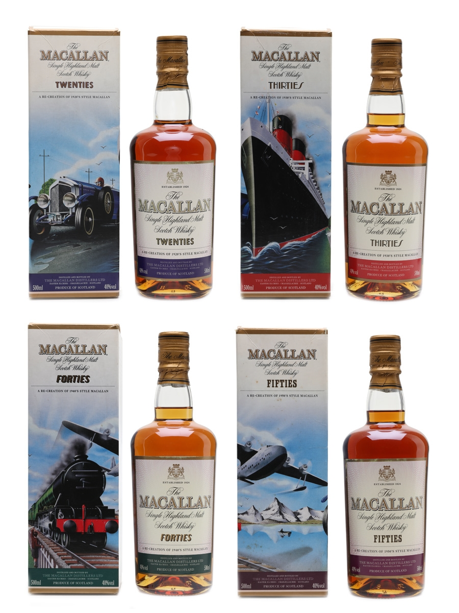 Macallan Travel Series Twenties, Thirties, Forties, Fifties  4 x 50cl / 40%