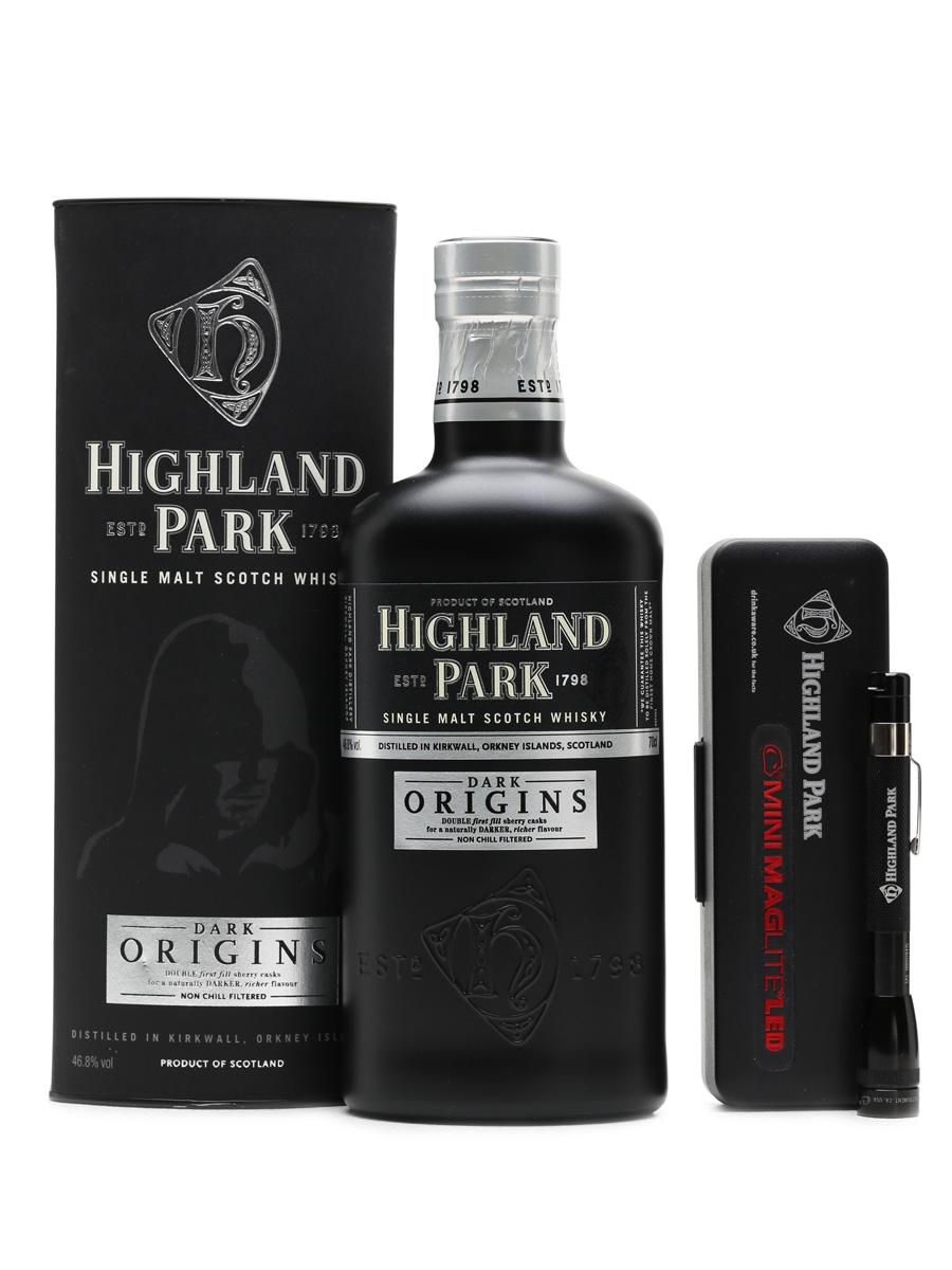 Highland Park Dark Origins with branded torch 70cl