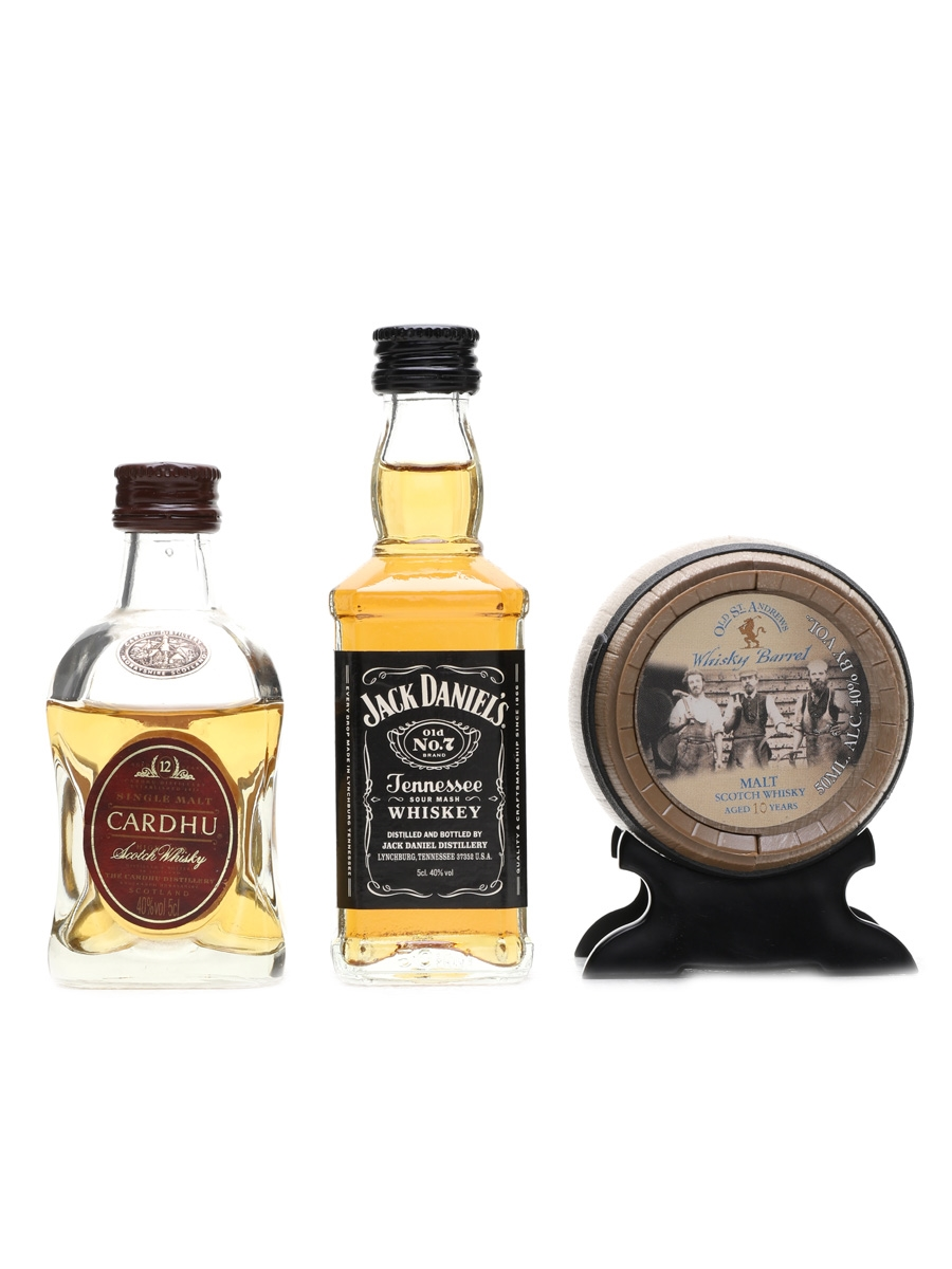 Assorted Whisky Miniatures Cardhu, Jack Daniel's, Old St Andrew 3 x 5cl / 40%