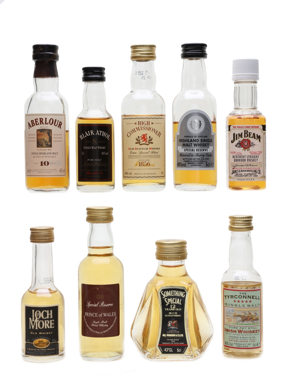 Assorted Whisky Miniatures Blair Athol, Jim Beam, Aberlour, Tyrconnell 2 x 3cl, 7 x 5cl