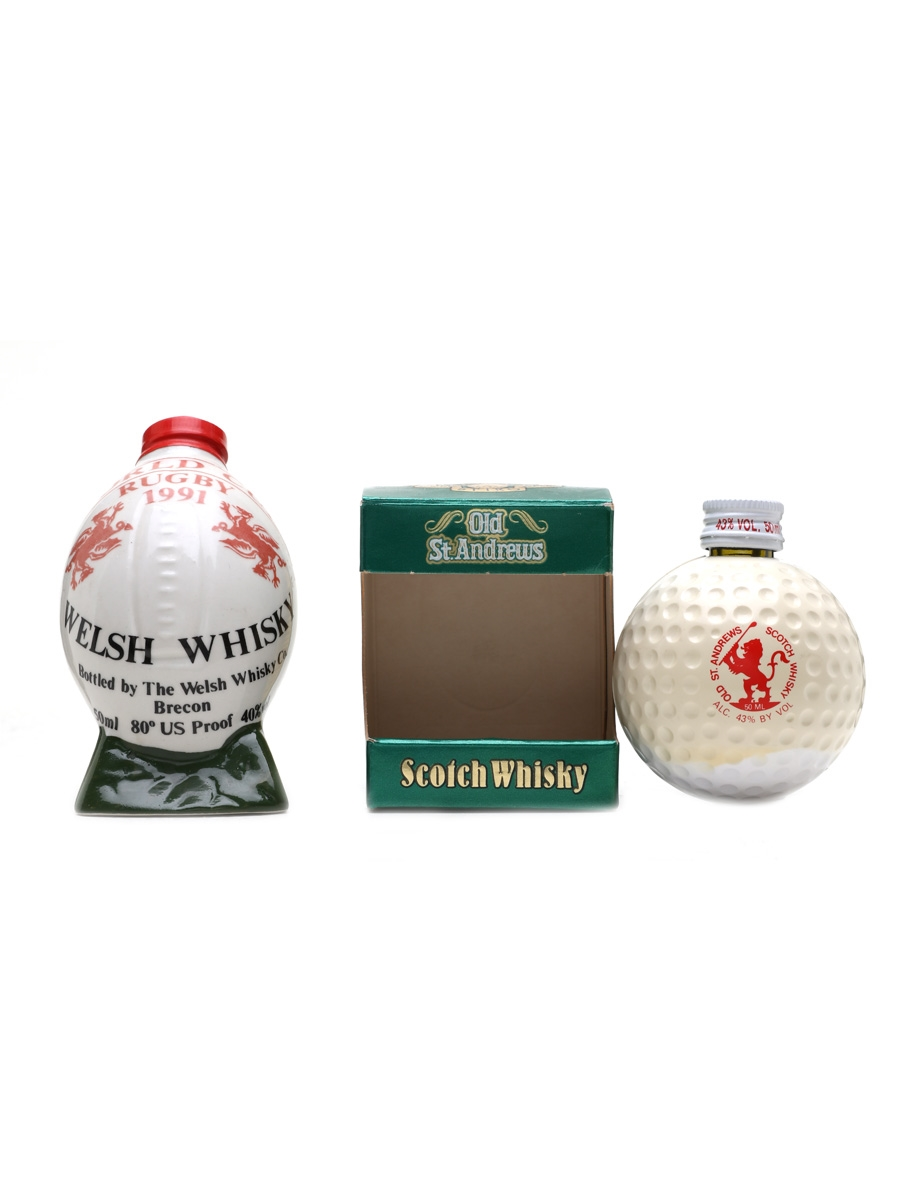Rugby Ball & Golf Ball Miniatures Welsh Whisky & Old St Andrews 2 x 5cl