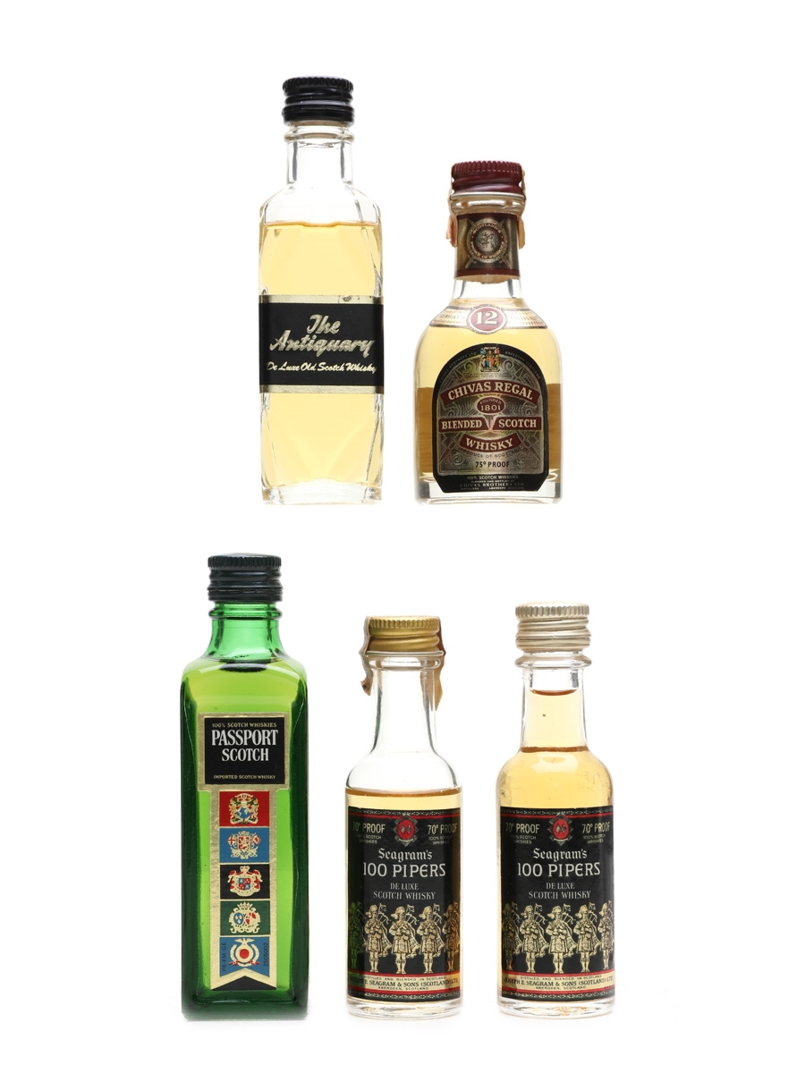 Blended Scotch Whisky Miniatures Antiquary, 100 Pipers, Chivas Regal, Passport 5 x 5cl