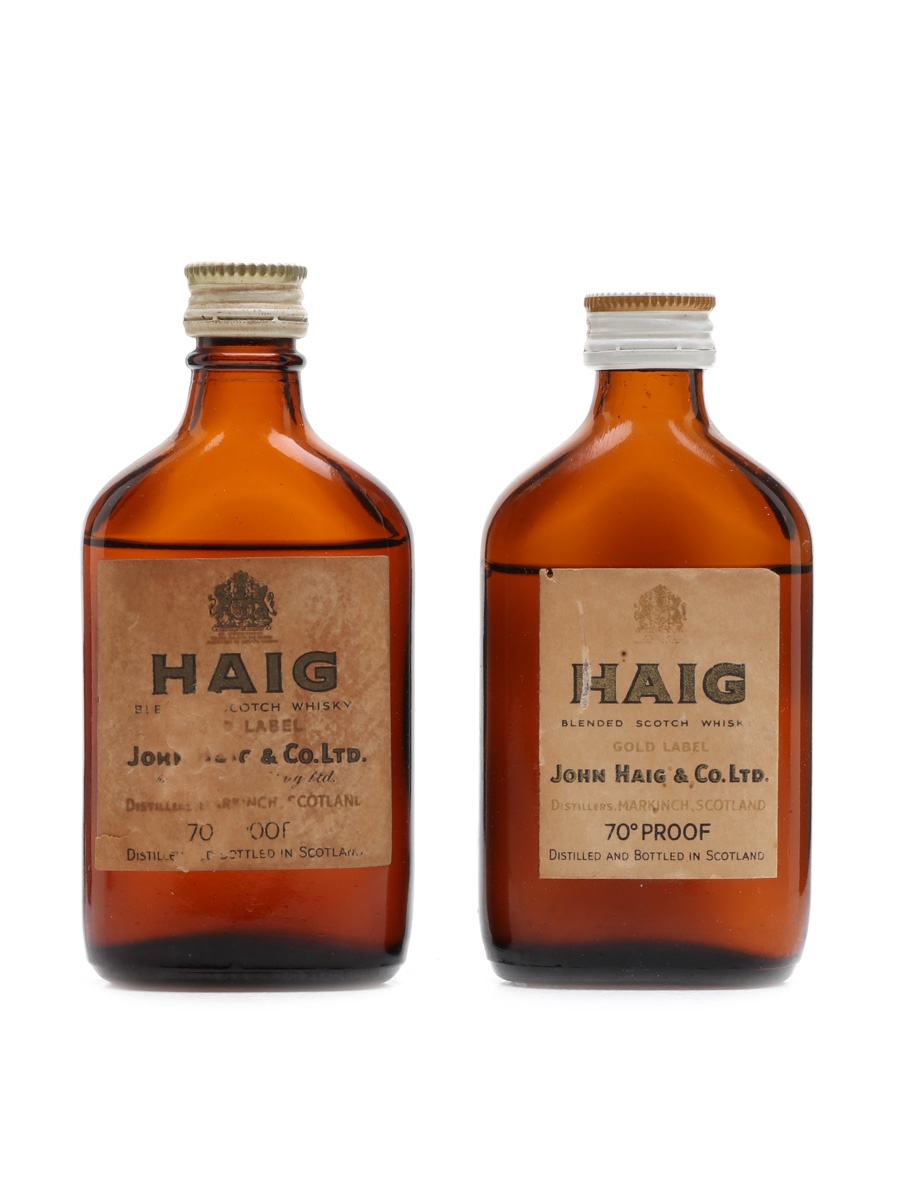 Haig Gold Label Bottled 1960s - 1970s 2 x 5cl / 40%