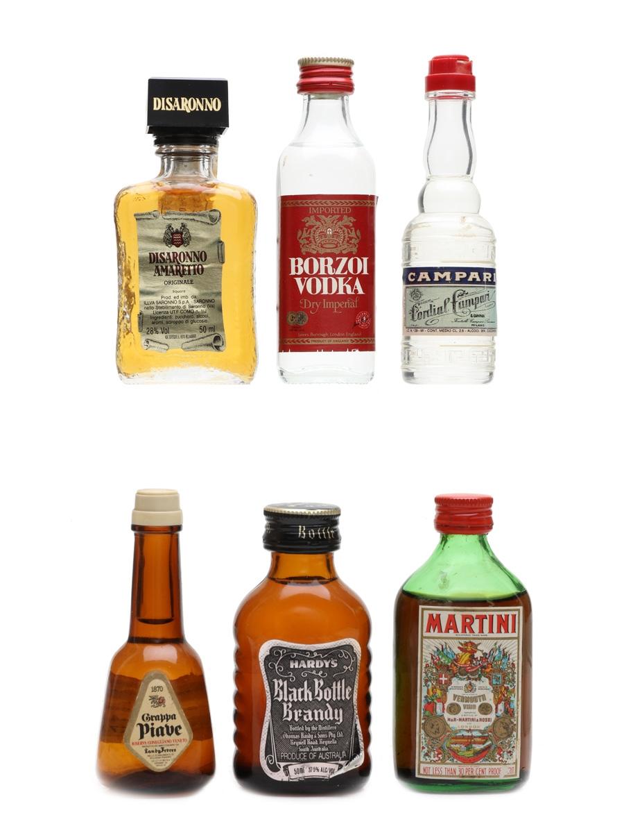 Assorted Spirits & Liqueurs Disaronno, Martini, Campari, Borzoi, Hardy's 6 x 4cl - 5cl