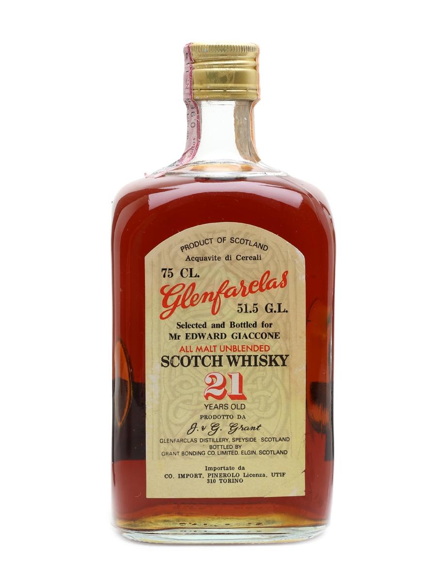 Glenfarclas 21 Year Old Bottled 1970s - Edward Giaccone 75cl / 51.5%