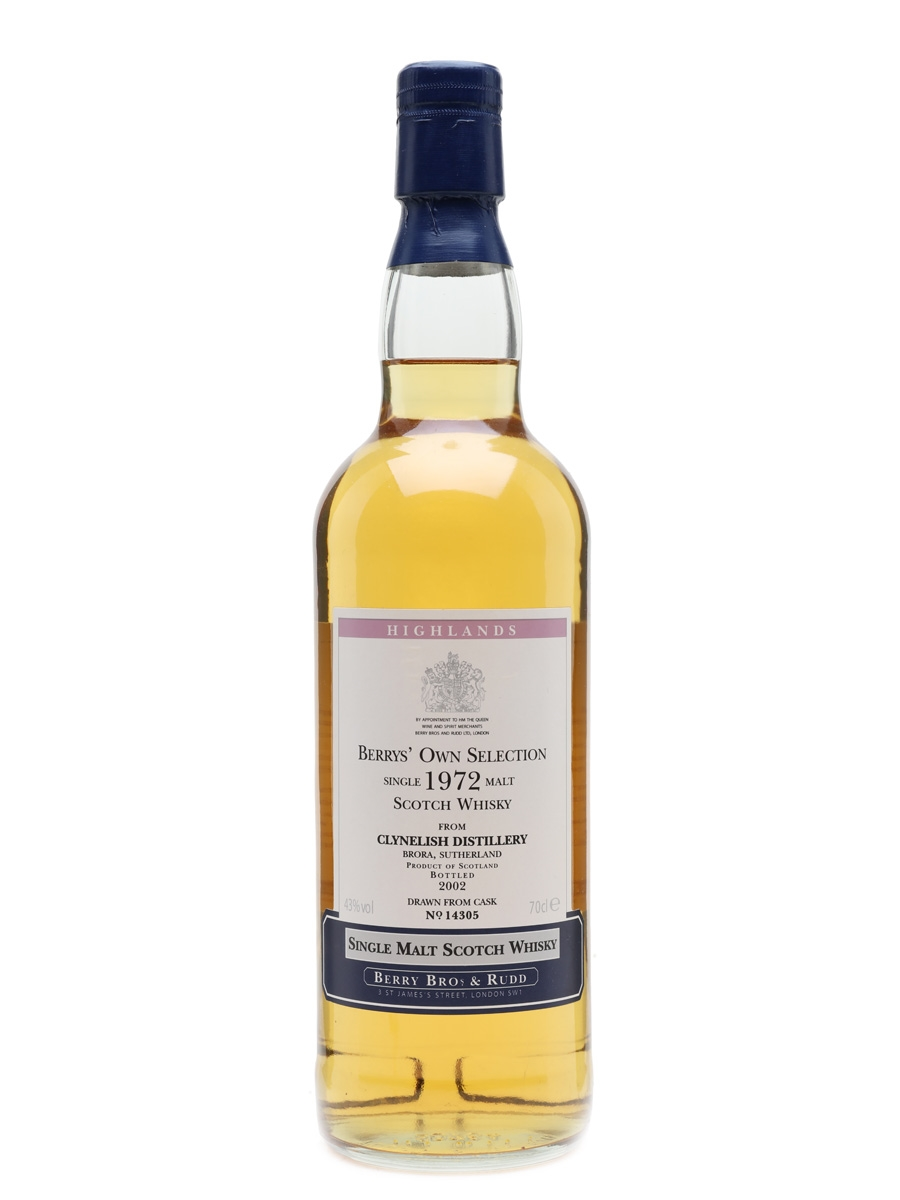 Clynelish 1972 Year Old Single Cask Bottled 2002 - Berry Bros & Rudd 70cl / 43%